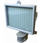 LED prožektorius 10W, baltas, šilta šviesa, su davikliu