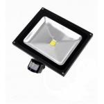 LED prožektorius 50W šalta šviesa, su davikliu