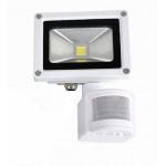 LED prožektorius 10W, šalta šviesa, su davikliu