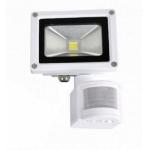 LED prožektorius 10W, šilta šviesa, su davikliu