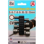 """Antgalių-galvučių rinkinys 8vnt, 1/4""""(6.3mm) 5-13 mm (67308)"""