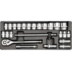 """Įrankių rinkinys 1/2"""", 24 vnt 10-32 mm (YT-12661)"""