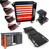 Įrankių spintelės / gultai / kėdutės / darbastaliai