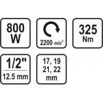 """Elektrinis smūginis veržliaraktis 1/2"""", 800W/ 325NM"""