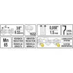 """Grandinė benzininiam pjūklui su būgnu 3/8"""" 1,5mm (0,058"""") 1632L (YT-84961)"""