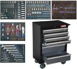 Įrankių spintelė su 7 stalčiais, 243 įrankiai
