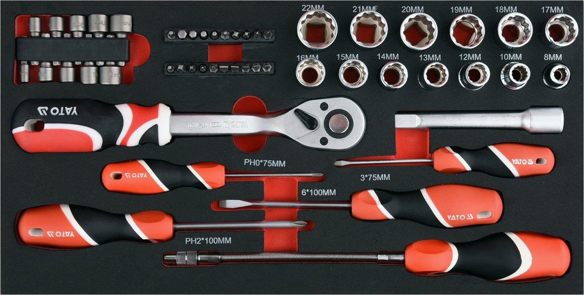 Dėžė įrankiams ant ratukų metalinė su įrankiais (YT-09104)