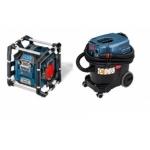 Universalus dulkių siurblys GAS 35 L AFC Professional + statybų aikštelės radijo grotuvas BOSCH GML 20 Professional dovanų