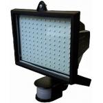 LED prožektorius 25W, juodas, šalta šviesa, su davikliu
