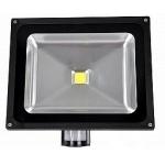 LED prožektorius 20W, šilta šviesa, su davikliu