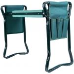 Sulankstomas sodo suoliukas ir kelių apsauga su įrankių krepšiu | 2 viename (ST-1)