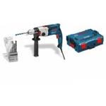 Elektrinis smūginis gręžtuvas BOSCH GSB 21-2 RE Professional + 6 x gręžimo karūnėlės + 6 x grąžtai medienai + lagaminas
