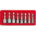 """Antgalių-galvučių rinkinys 8vnt, 1/4""""(6.3mm) 5-13 mm (66113)"""