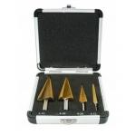 Grąžtai skylės (pa)platinimui pakopiniai | aliuminė dėžutė | 4-12, 4-20, 4-30, 4-32 mm | 4 vnt. (EB-4346A-WN)
