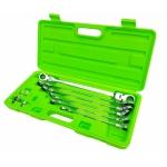 Pailgintų terkšlinių vartomų dvipusių raktų rinkinys | su adapteriais galvutėms | 8 - 19 mm | 10 vnt. (FMT10)