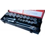 """Galvučių komplektas 3/4"""", 12-kampų, 19-50 mm, metalinė dėžė, 21vnt (SK780577)"""