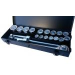 """Galvučių komplektas 3/4"""", 6-kampų, 19-50 mm, metalinė dėžė, 21vnt (SK780576)"""