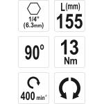 """Kampinis priedas antgaliams 90° 1/4"""" (6,3mm) (YT-04631)"""
