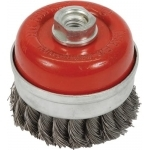 Šepetys vielinis puodo tipo | susuktas / su žiedu | M14 | Ø 75 mm (ES740075R)