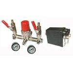 Reguliatorius kompresoriui BM tipo su slėgio jungikliu ir manometrais. Atsarginė dalis (MZBRKSJM01)